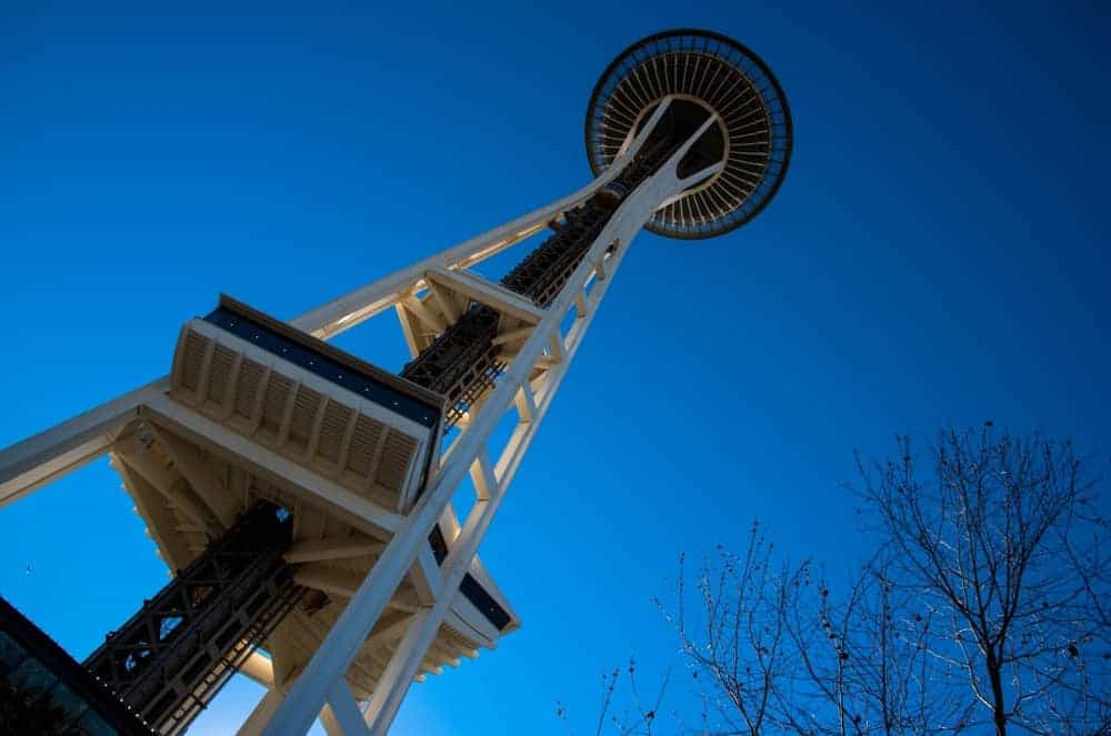Looking at the Space Needle in Seattle, Washington from the bottom up to the top.