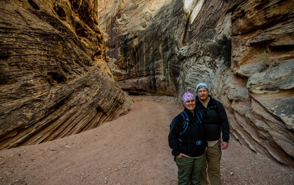 Dave and Jamie from Photo Jeepers, the photography workshop instructors, in a slot canyon at Capitol Reef National Park, Utah