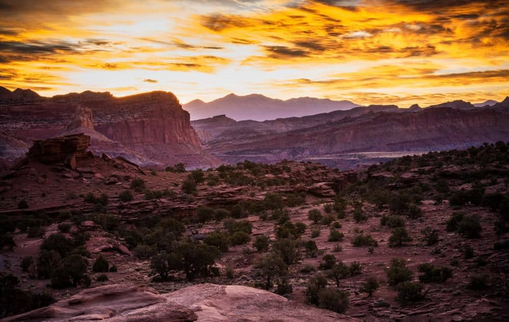 Sunrise with golden clouds at Capitol Reef National Park, Utah