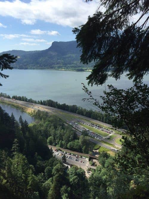 View of the Columbia River near Portland, Oregon from Mulnomah Falls