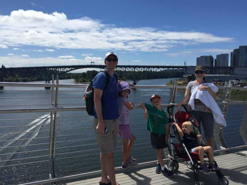 Family on the bridge at Tilikum Crossing near Portland, Oregon