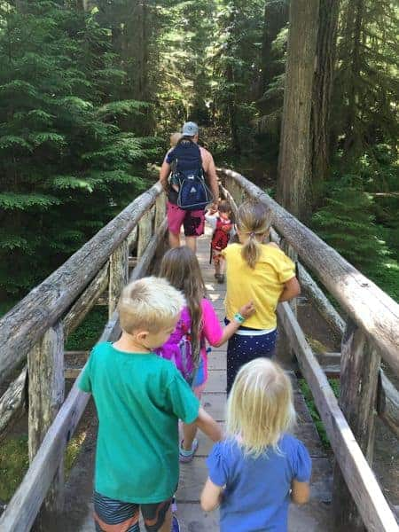 Family hiking to the Bagby Hot Springs near Portland, Oregon.