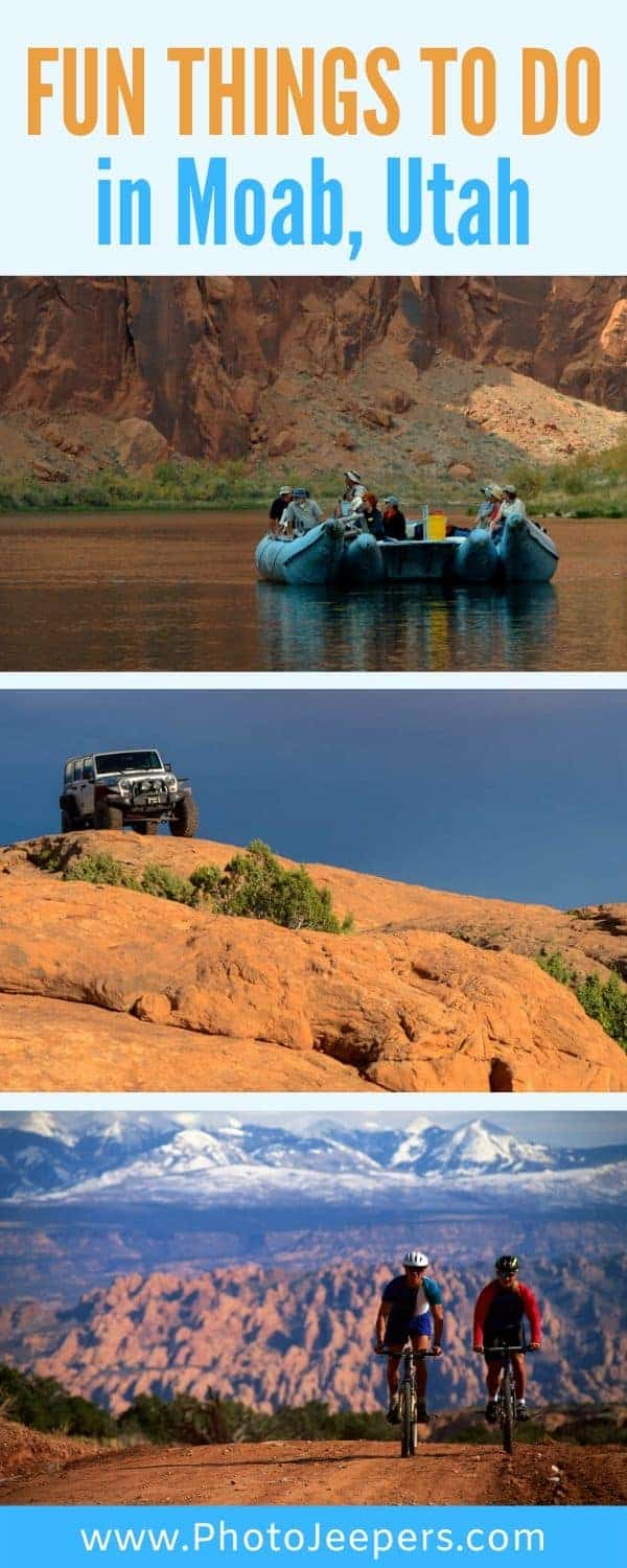 Moab, Utah is considered one of the best outdoor adventure towns in America. Outdoor Moab adventures include mountain biking, rock climbing, hiking, river rafting, off roading in Jeeps and ATVs and exploring the Utah National and State Parks in the area. #utah #moab #outdooradventure #photojeepers