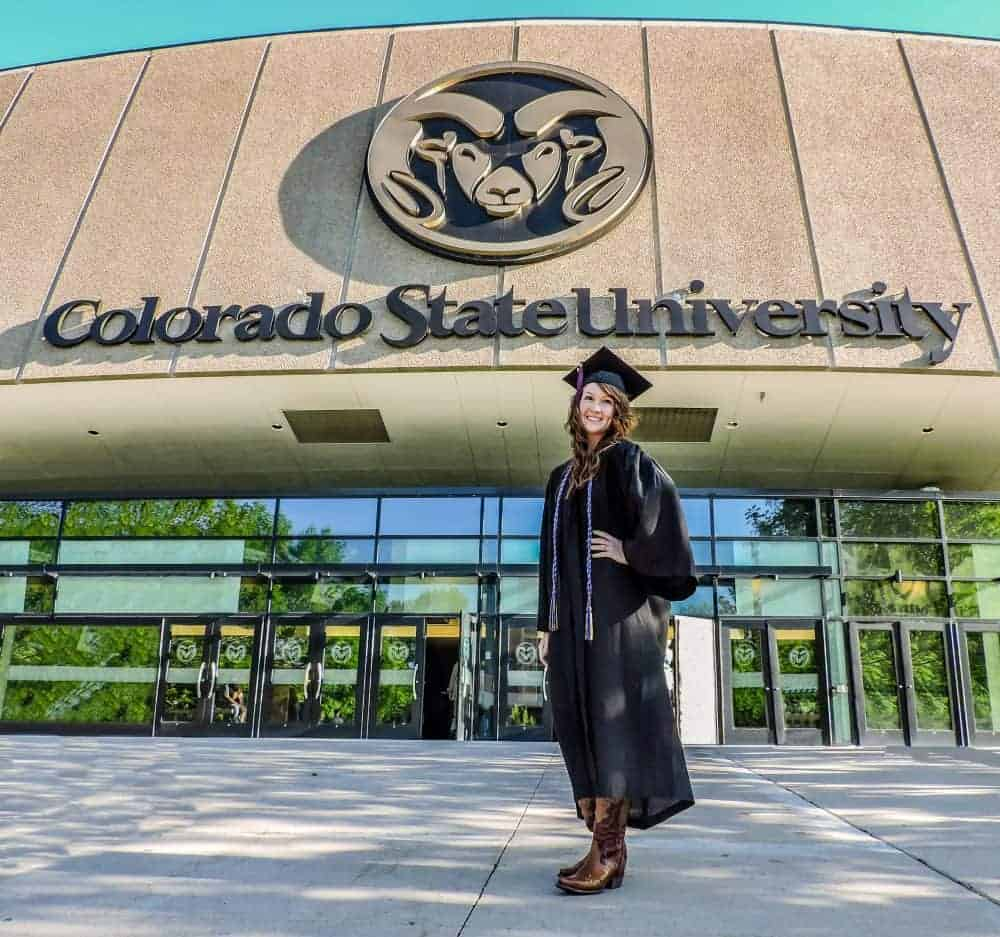 Girl in graduation cap and gown at Colorado State University