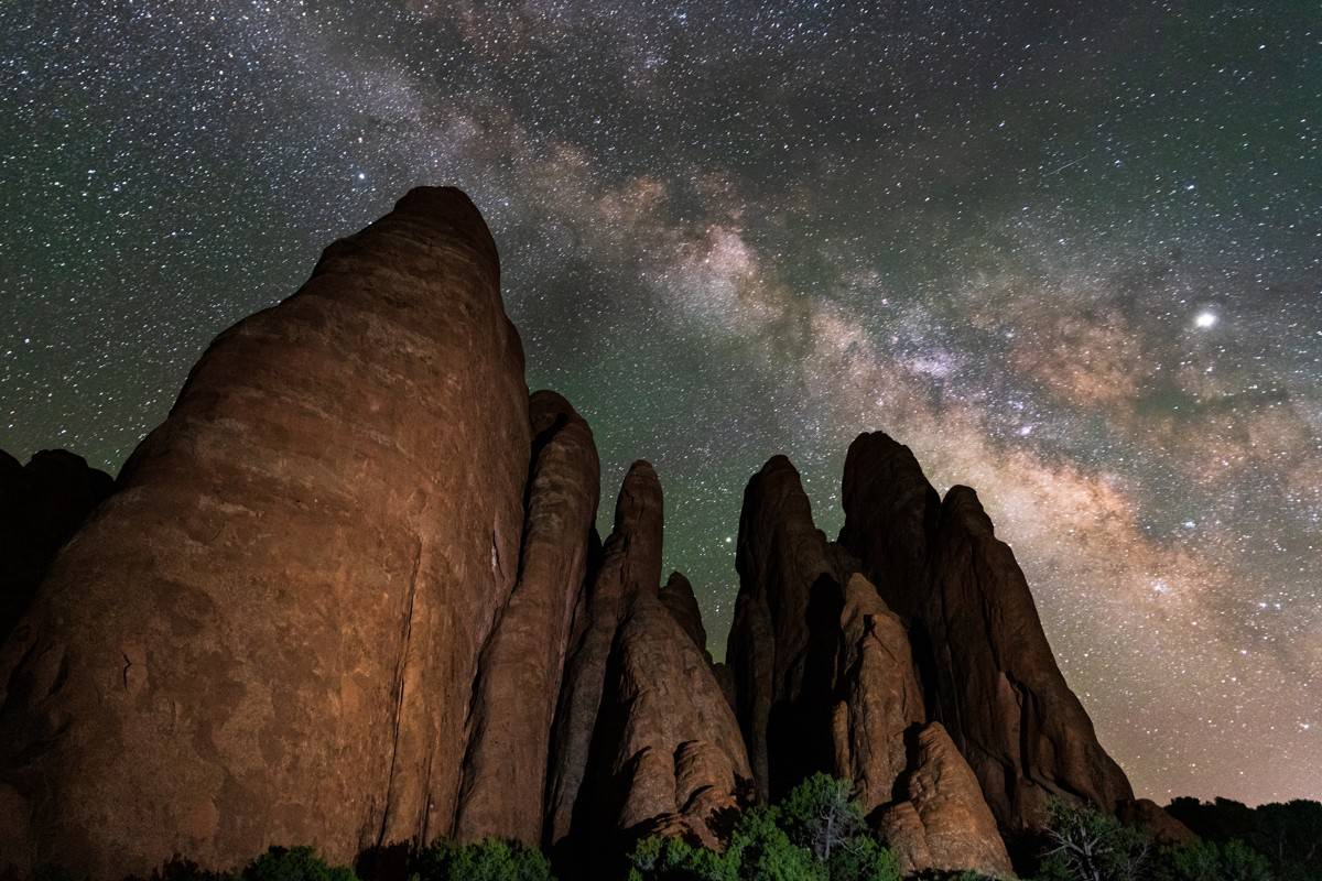 Milky Way over fins in Arches National Park near Moab, Utah
