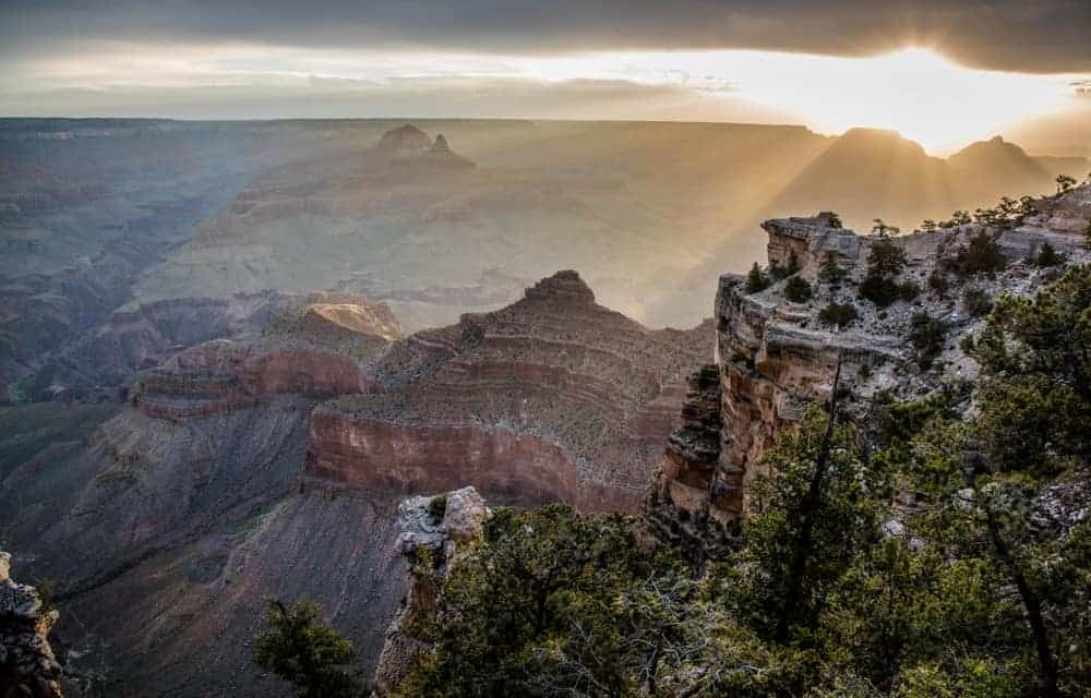 Sunbeams through the clouds at the Grand Canyon.