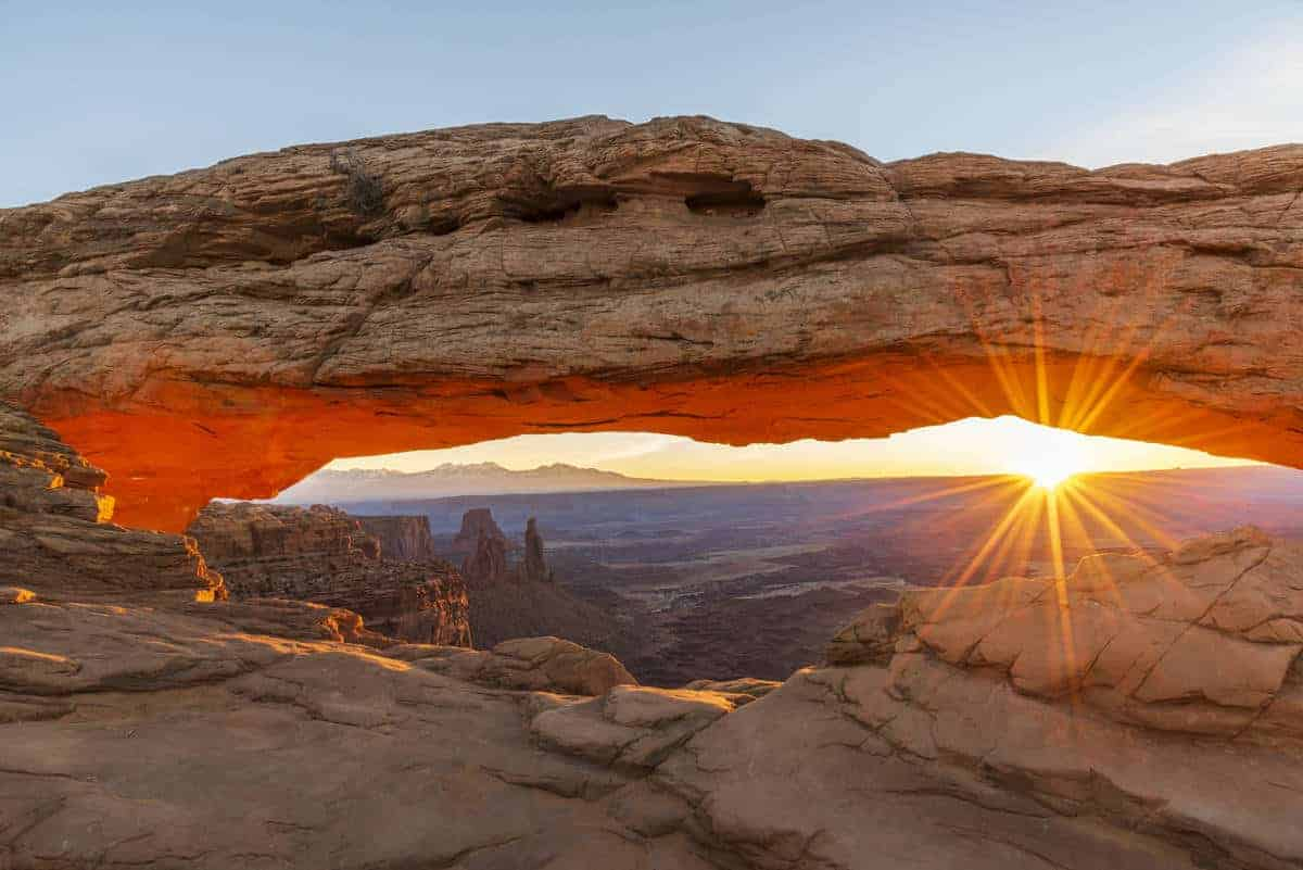 Iconic Mesa Arch at sunrise.