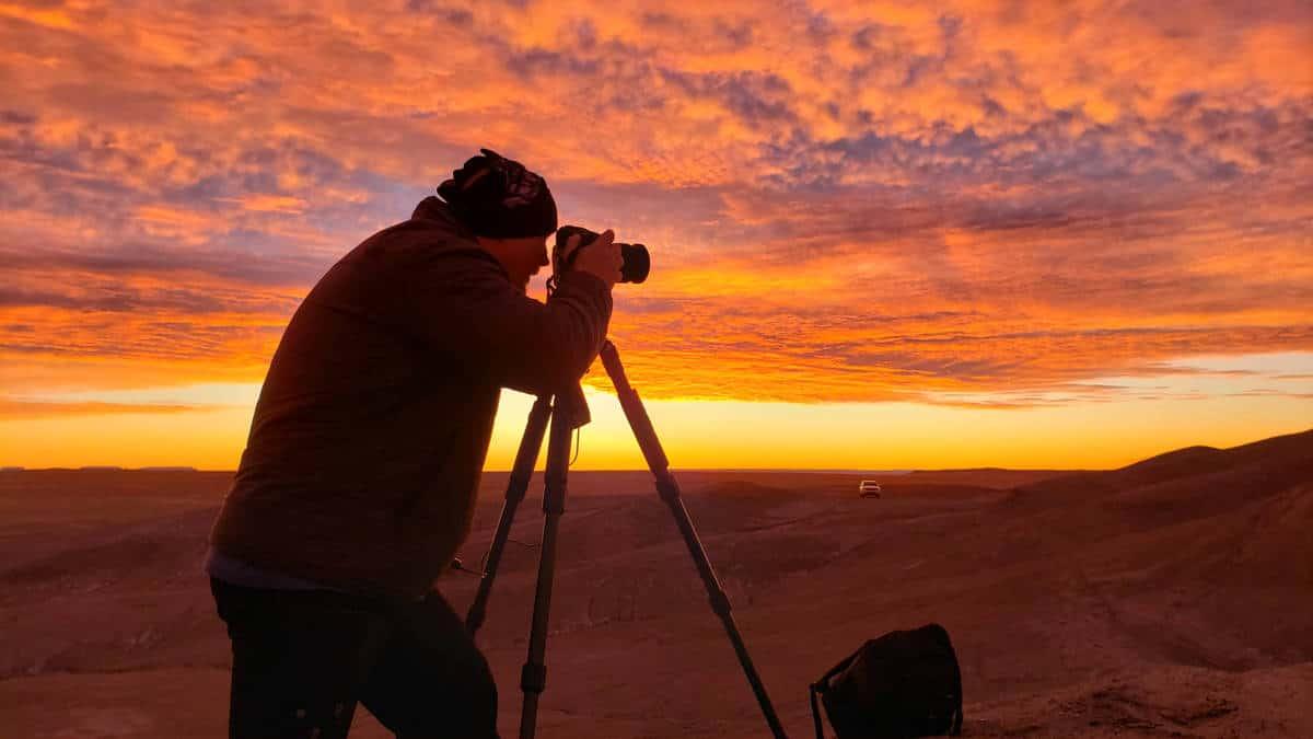 Photographer on scene early to capture sunrise photos.