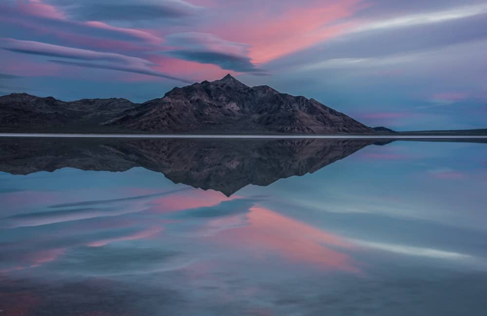 Blue hour photography showcases the cool tones of pink and purple.