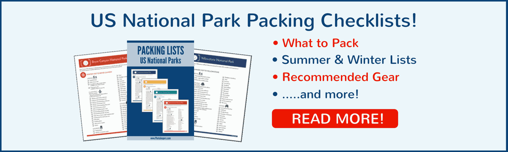 US National Parks Packing Checklists Click to Download