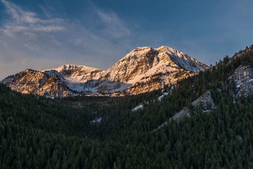 Mount Timpanogos in Utah at sunrise.