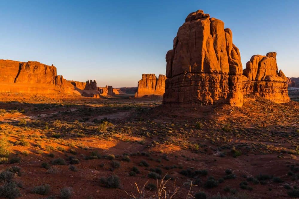 Sunset along the scenic drive at Arches National Park, Utah, USA