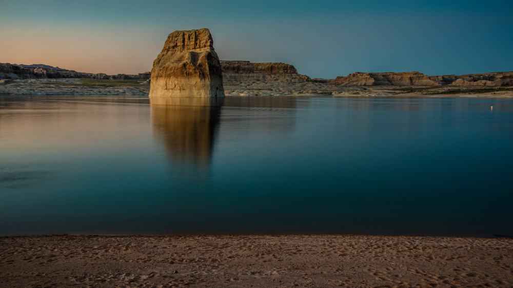 Lone Rock at Lake Powell after sunset