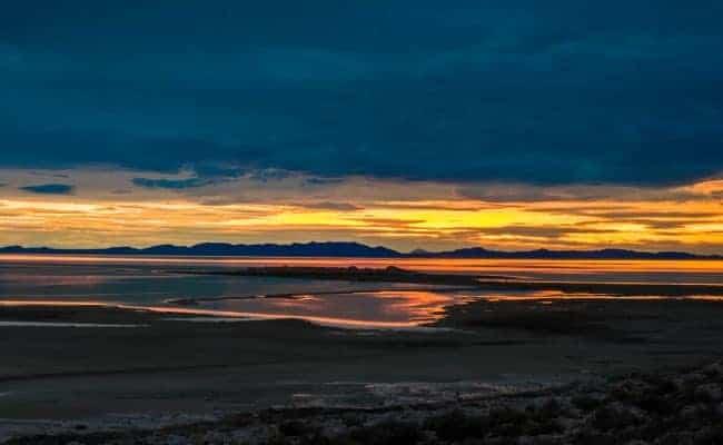 Sunset at Antelope Island, Great Salt Lake, Utah, USA