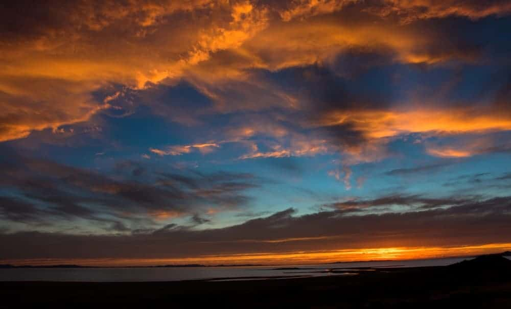 Colorful clouds at sunset at Antelope Island, Great Salt Lake, Utah, USA