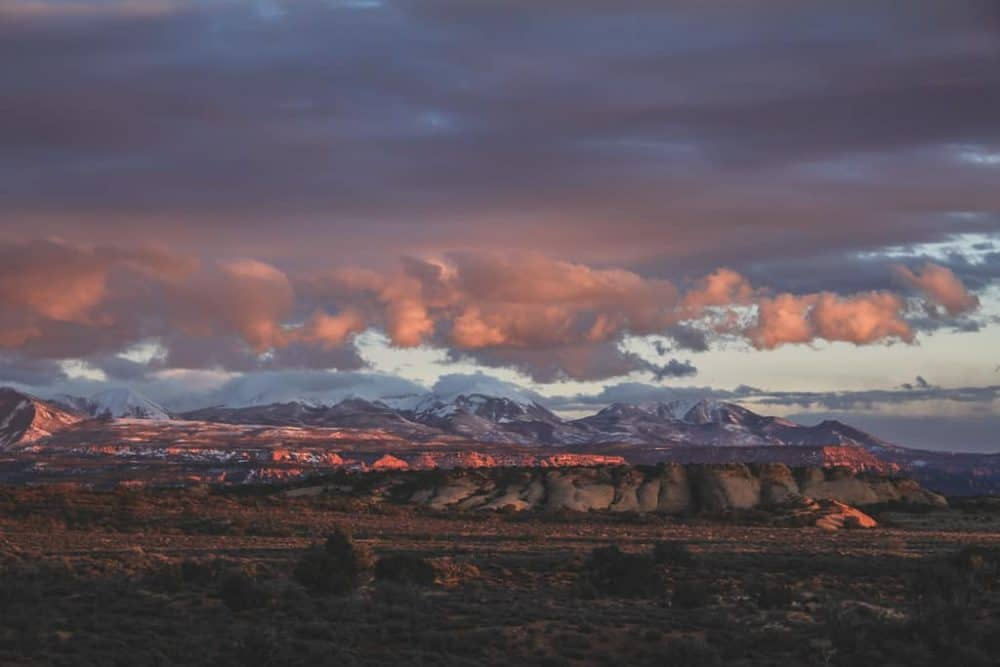 Sunset view along the trail at The Windows at Arches National Park