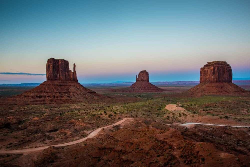 Sunset at blue hour at Monument Valley