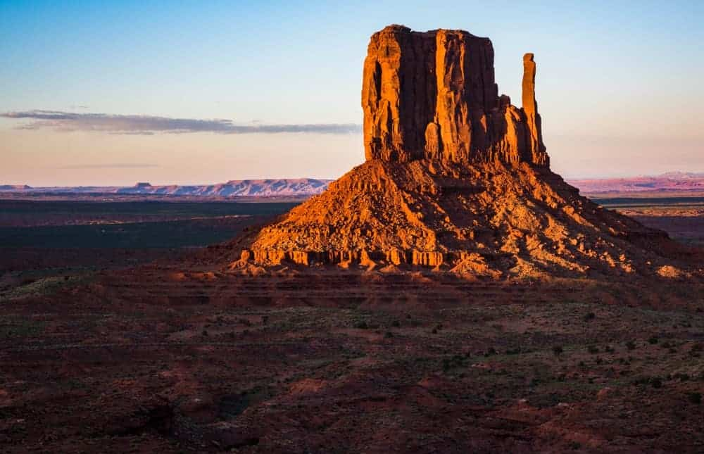 The mitten butte at Monument Valley at sunset.