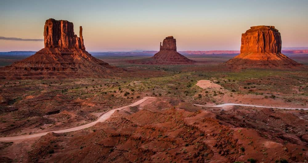 Sunset at golden hour at Monument Valley