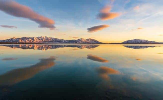 Utah Lake sunset with clouds reflecting in the water