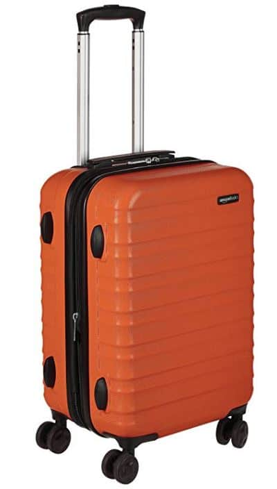 orange rolling suitcase