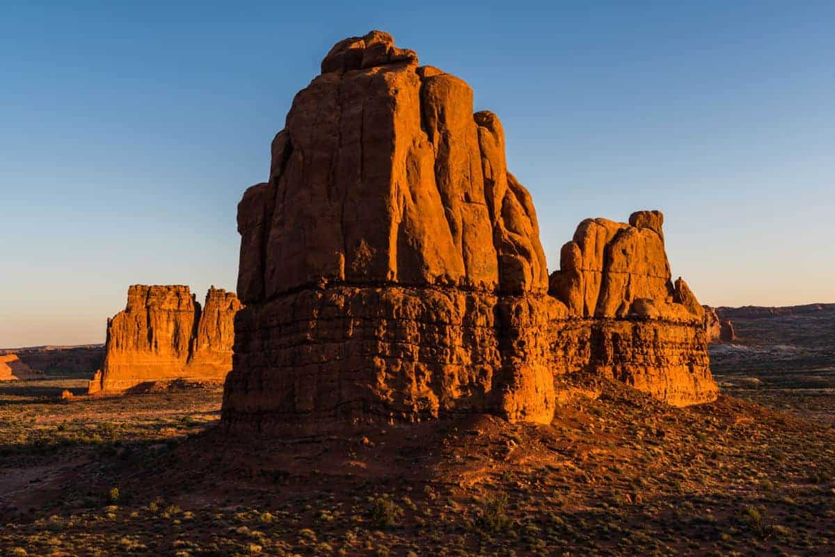 Sunrise is the best time to photograph the rock formations near the La Sal Viewpoint.