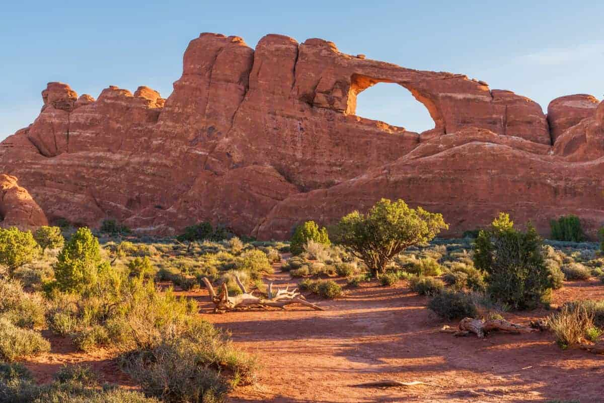 Skyline Arch is easily accessed at Arches National Park.