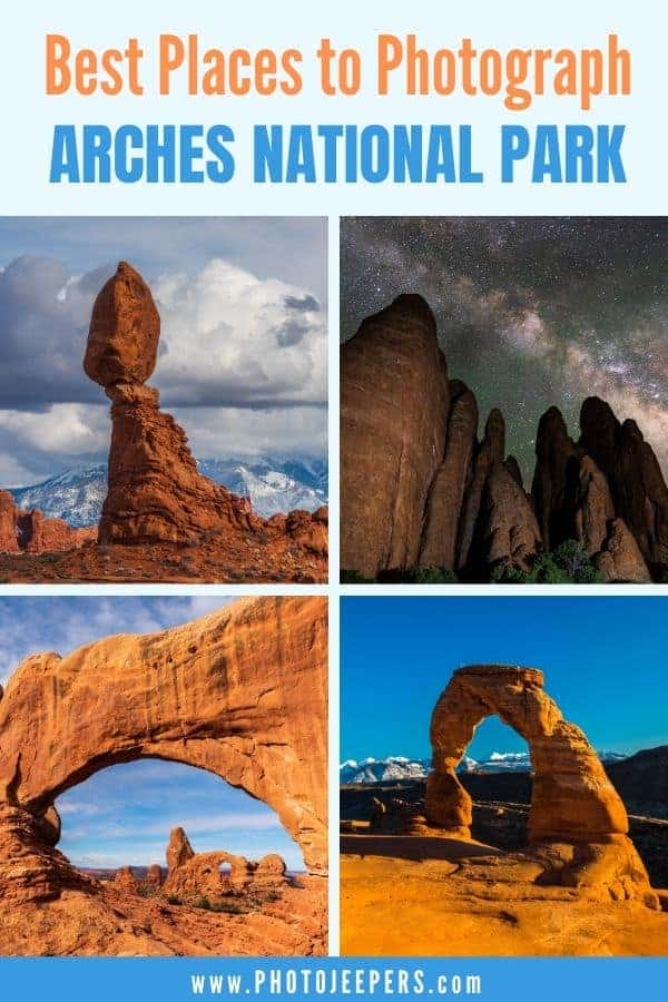 Are you looking for the best places to photograph Arches National Park? This guide lists all the Arches photography spots, with tips to get the best photo at each location. #photography #landscapephotography #nationalparks #archesnationalpark #photojeepers