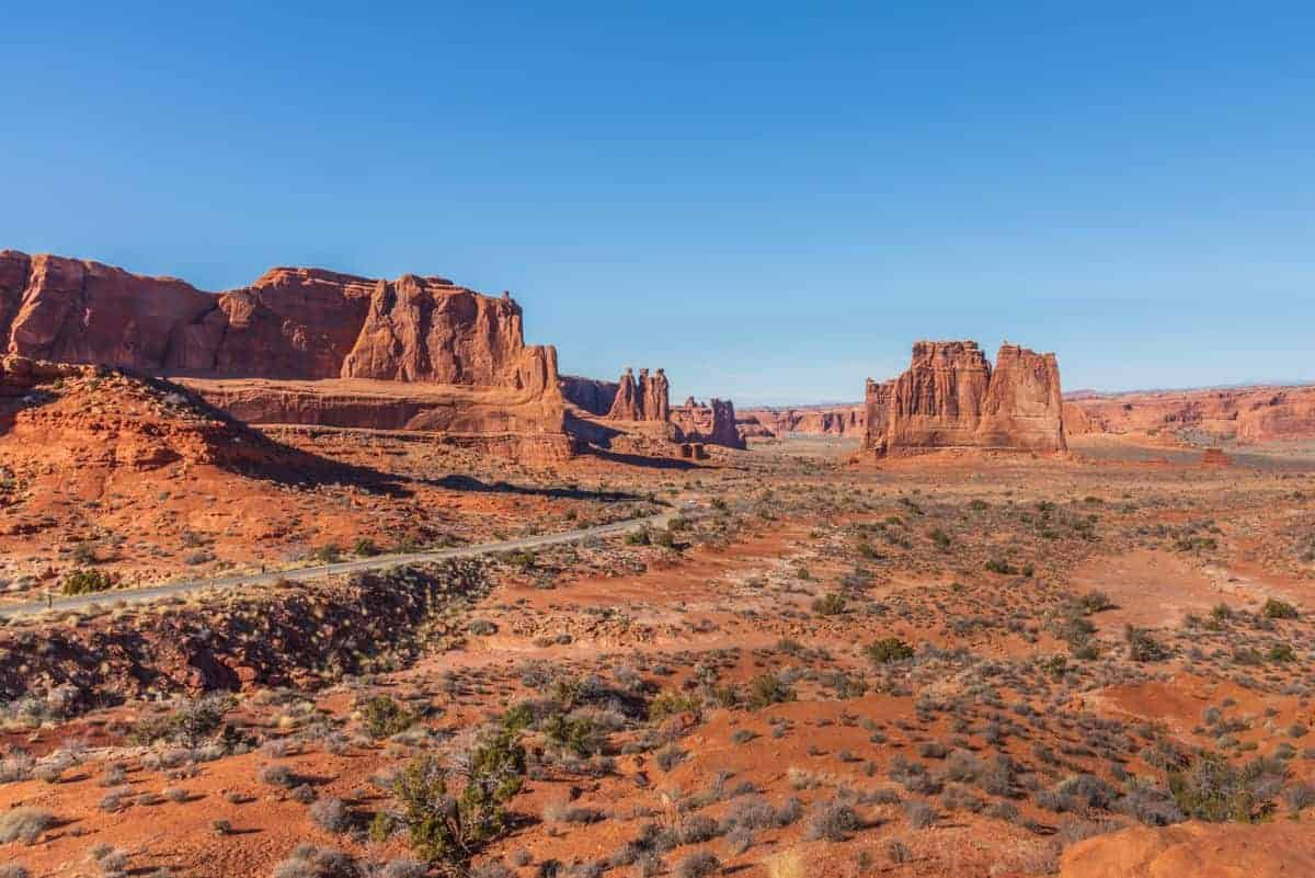 The scenic drive offers many landscape scenes to photograph at Arches.