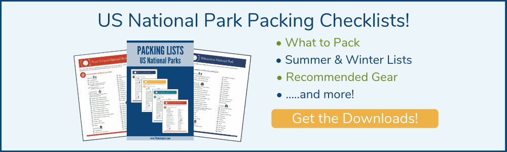US National Park Packing Checklist for summer and winter