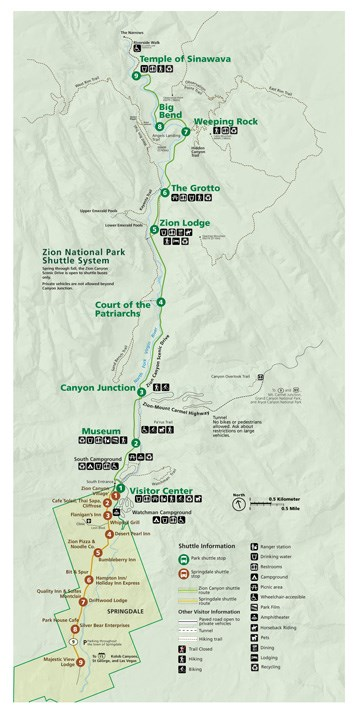zion national park map: zion canyon
