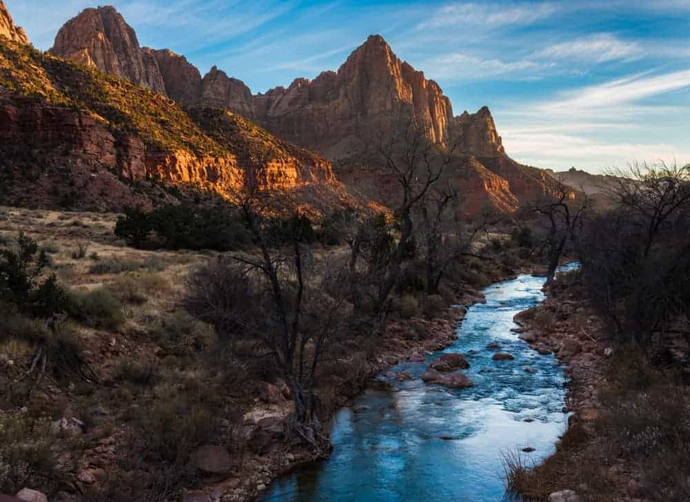 Watchman and Virgin River from the bridge at at sunset - photography spot when visiting Zion National Park in Utah