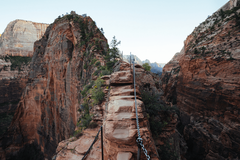 Narrow part of the Angel's Landing hiking trail at Zion National Park, Utah