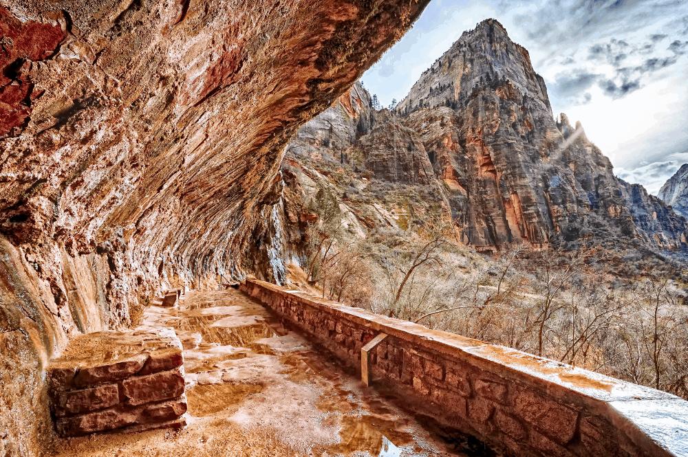 Weeping Rock hiking trail at Zion National Park, Utah