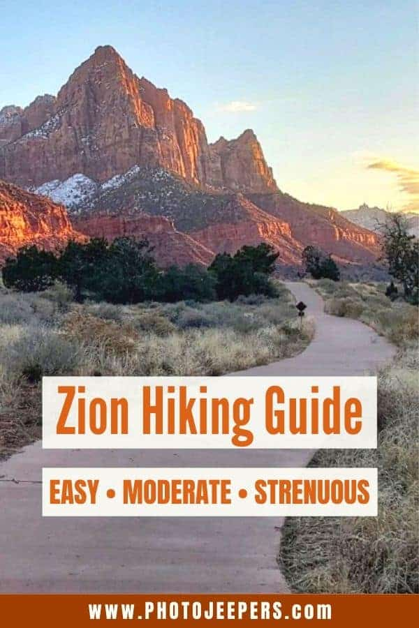 Zion National Park hiking guide. A list of easy, moderate and strenuous hiking trails at Zion. Tips for trailhead shuttle stops, distance, time, elevation gain and more! #nationalparks #hiking #zionnationalpark #utah #photojeepers