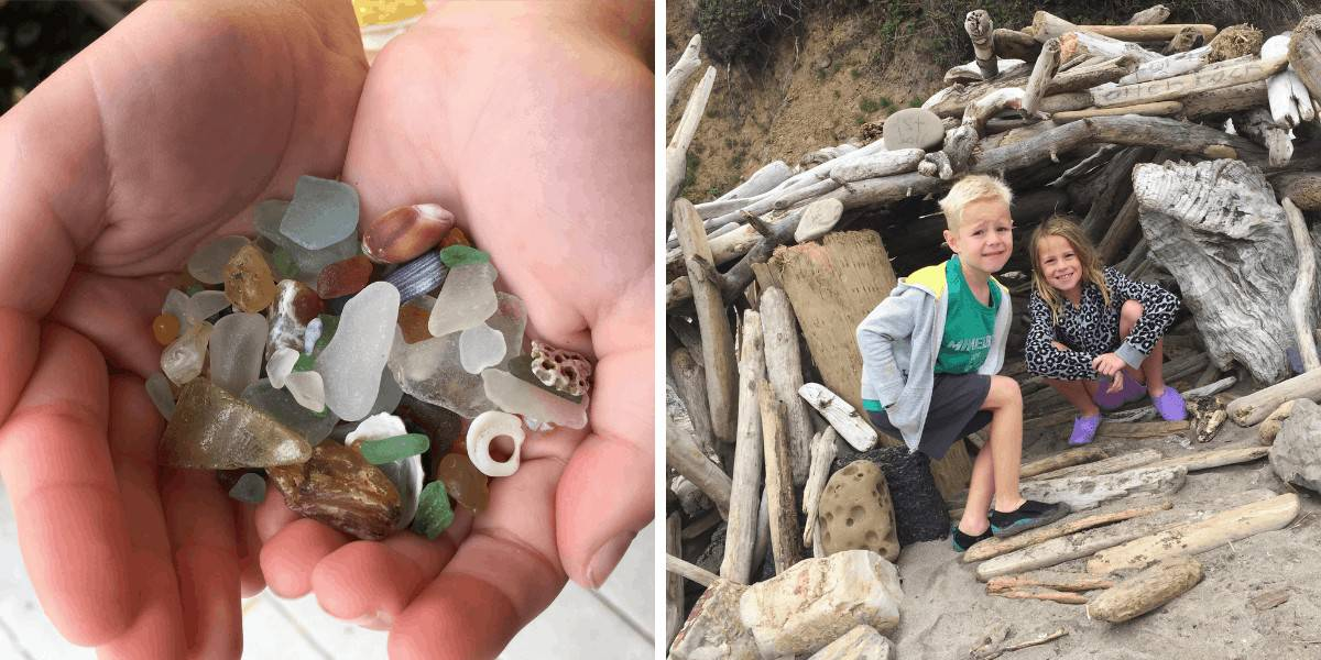 Handful of sea glass and a driftwood fort built by kids at Otter Rock Beach, Oregon.