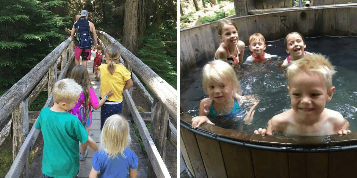 Kids hiking then soaking in the tubs at Bagby Hot Springs, Oregon