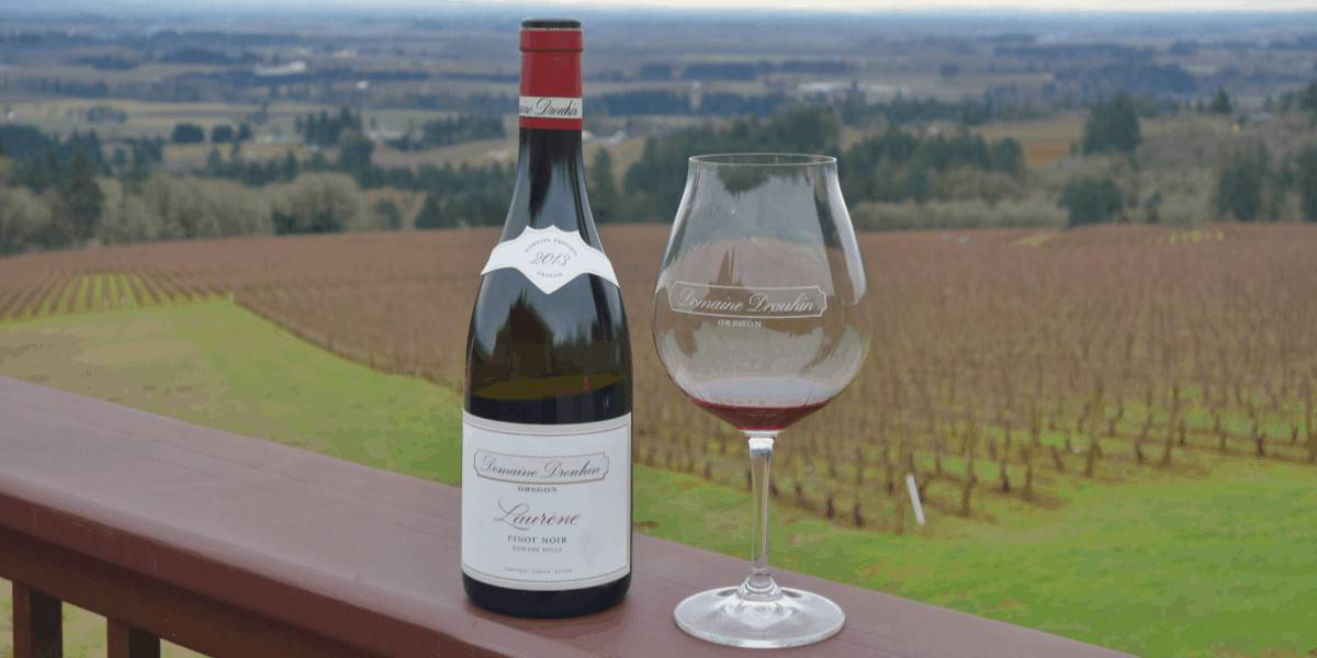 Wine bottle and glass - Willamette Valley wineries in Oregon.