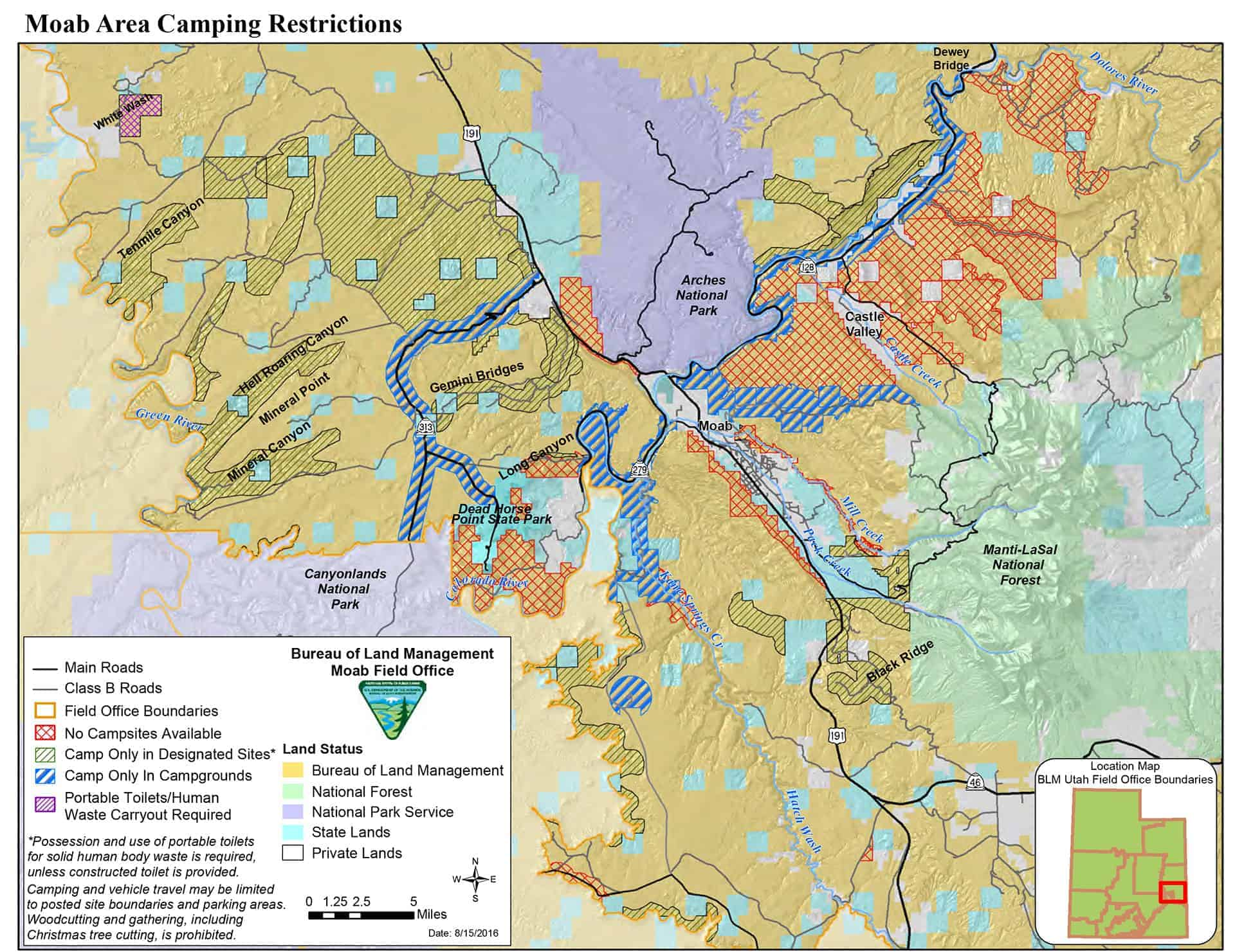 Map showing Moab area campground restrictions.