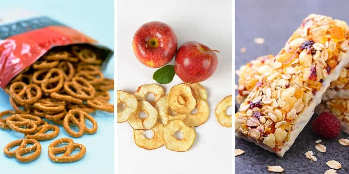 pretzels, apples and granola bars are healthy travel snacks