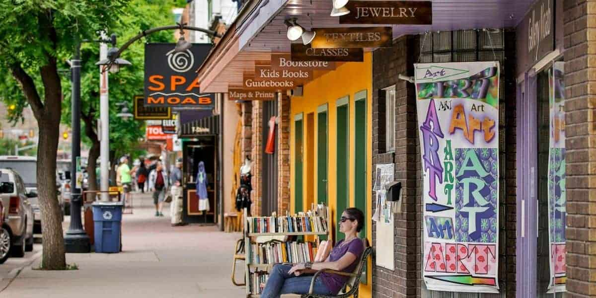 shopping along Main Street in Moab, Utah