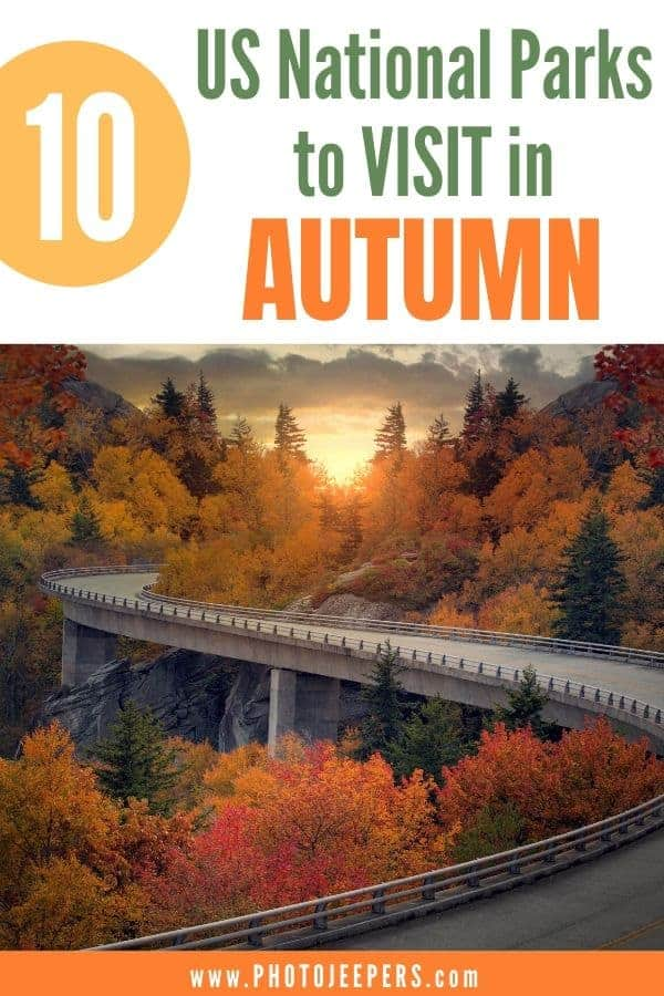 Autumn is the perfect time to visit National Parks. Fewer people, moderate temps, fall color and wildlife! US national parks are terrific fall travel destinations. Click to read 10 places you should consider for a vacation in the fall. #nationalpark #falltravel #roadtrip #photojeepers