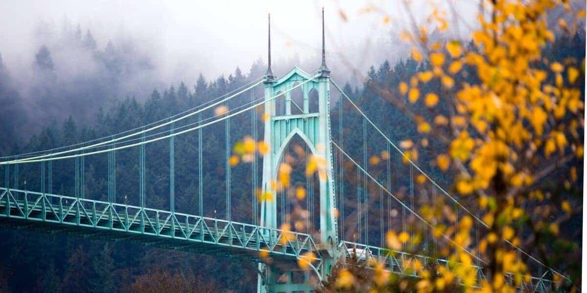 Bridge in Portland, Oregon in the fall.