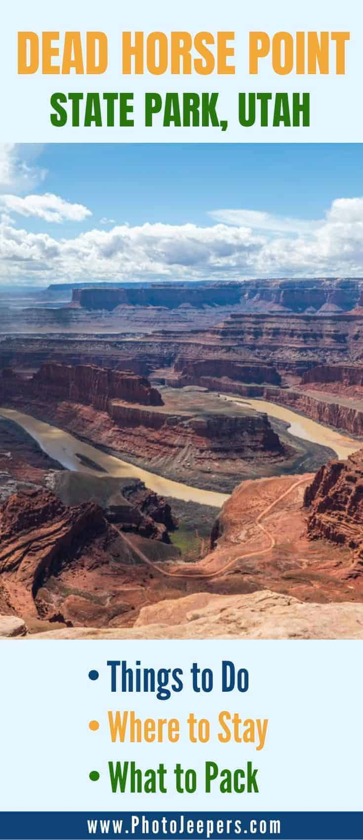 Dead Horse Point is a must-see location near Arches and Canyonlands. The views of the canyons carved by the Colorado River are stunning to see and photograph. Save this to use our tips for planning a trip to Dead Horse Point State Park in Utah. #utah #moab #deadhorsepoint #photojeepers
