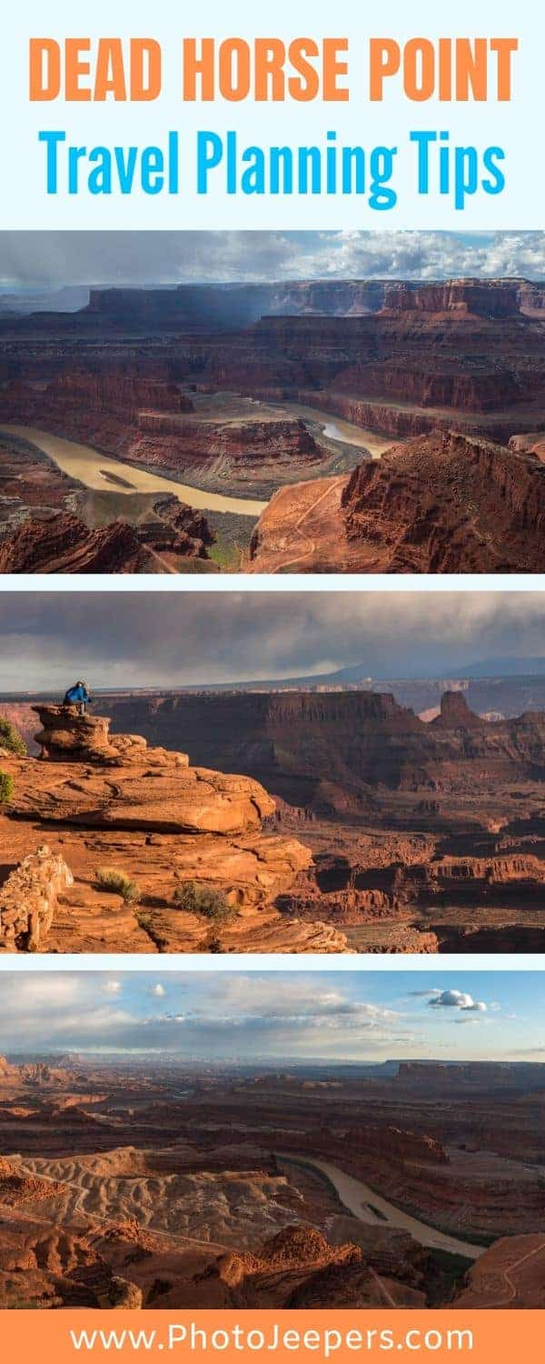 Dead Horse Point State Park in Utah is a must-stop if you're in the Moab area visiting Arches or Canyonlands National Parks. The views seen from this park cannot be seen anywhere else. Use this travel guide to plan your visit to Dead Horse Point. #traveldestinations #utah #deadhorsepoint #photojeepers