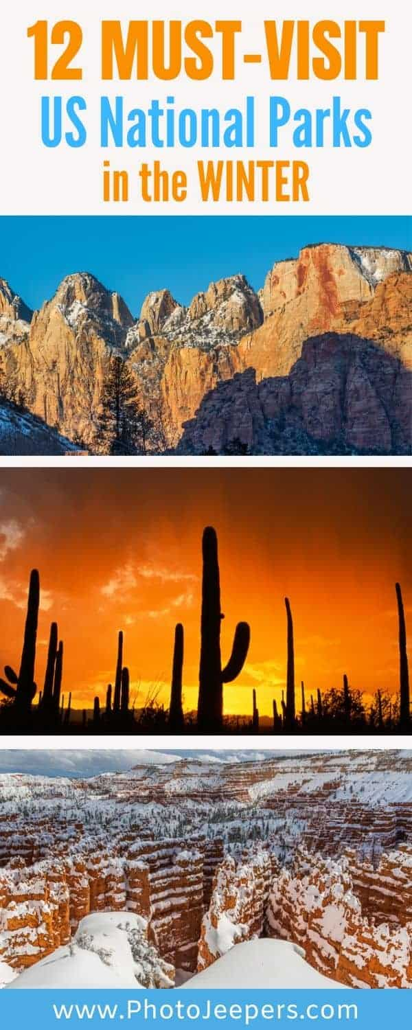 Winter is a wonderful time to visit the national parks in the US. The southern parks will have more temperate weather while the northern park offer winter activities. Save this to help you plan a trip to a US national park in the winter. #nationalparks #winter #traveldestinations #bucketlist #photojeepers