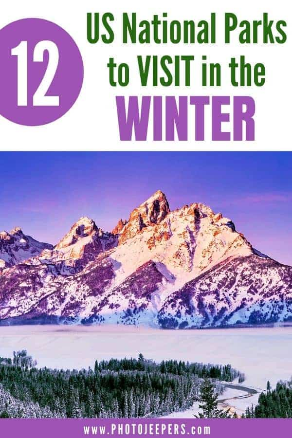 If you enjoy winter activities, then plan a trip to the US National Parks that are covered in snow during the winter. Skiing, snowshoeing, photography and star gazing are wonderful winter activities at many US National Parks. Save this to help you plan a winter trip to a UN National Park. #nationalparks #traveldestinations #traveltips #travelplanning #photojeepers