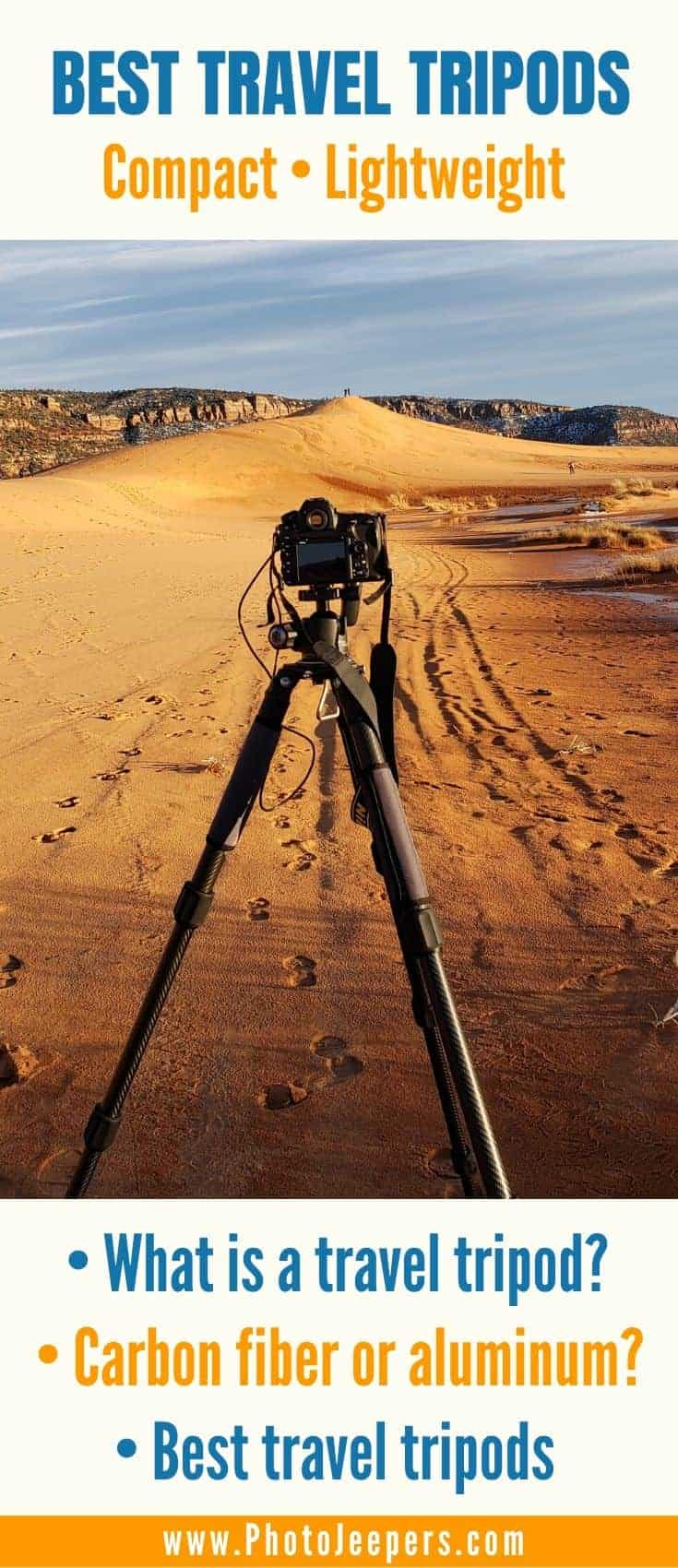 This guide will help you find the best portable and lightweight travel tripod to suit your photography style and budget. What is a travel tripod? Which travel tripod is best: carbon fiber or aluminum? 6 best lightweight travel tripods. #photography #tripod #cameragear #photojeepers