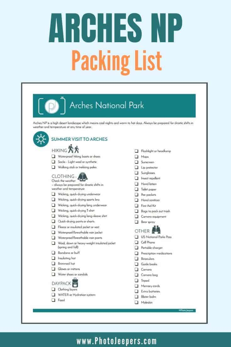 Arches National Park packing list
