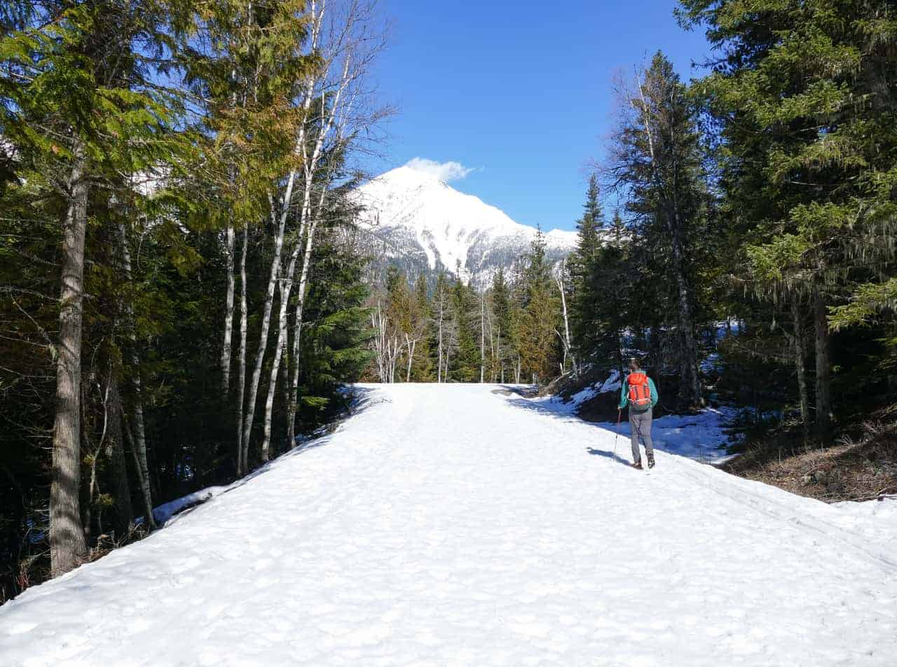 Cross country skiing at Glacier National Park in the winter.